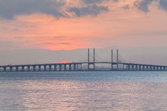 Sunrise by the shore with view of Penang Bridge. Malaysia stock images