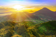 Sunrise from sikunir hill Royalty Free Stock Images