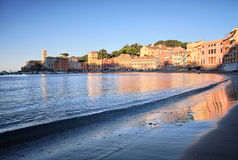 Sunrise in Silent Bay. Sunrise view from beach in Silent Bay in Sestri Levante, High Dynamic Range photo Royalty Free Stock Photography