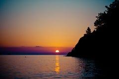 Sunrise silhouette above sea and sky Turkey Stock Photos