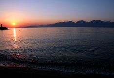 Sunrise silhouette, Greece Stock Photo