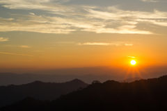 Sunrise and Silhouette Mountain at Thong Pha phum  Royalty Free Stock Photo