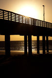 Sunrise with silhoutte Pier BG Royalty Free Stock Photos