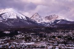 Sunrise in Silverthorne, Colorado. A gorgeous view of Colorado`s Gore Range in the early winter royalty free stock photography