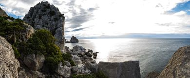 Sunrise in Simeiz, Yalta, Crimea, Ukraine, summer Royalty Free Stock Photography