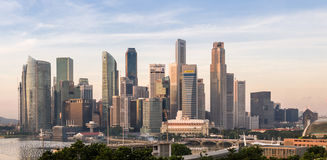 Sunrise of Singapore skyline Stock Photos