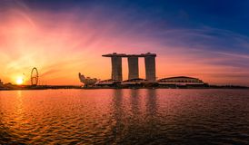 Sunrise of Singapore Skyline. Singapore`s business distric on bl. Ue sky view for marina bay stock images