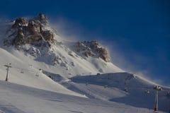 Sunrise at ski resort. Sunrise at Las Leñas ski resort in Argentina Stock Image
