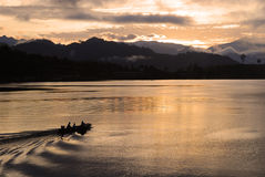 Sunrise sky. With the boat on the river, Thailand Royalty Free Stock Image