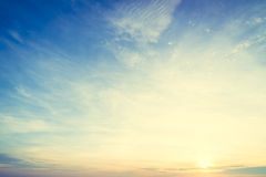 Sunrise and sky. Beautiful sunrise on sky background - Vintage filter Processing stock photo