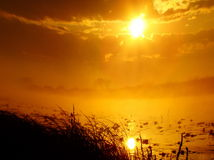 At sunrise. The sky became covered by bright orange color Royalty Free Stock Images