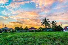 Sunrise sky with clouds over the rural villages in thailand. Stock Photo