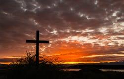 Sunrise sky Cross Royalty Free Stock Images