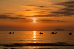 Sunrise Sky With Fishing Boats Royalty Free Stock Image