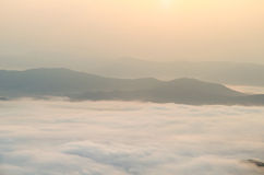 Sunrise sky and misty layer mountain in the morning Royalty Free Stock Photography