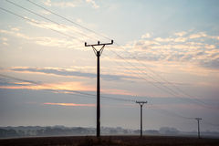 Sunrise sky over power lines at Tatras Royalty Free Stock Photos