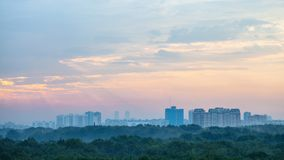 Sunrise sky over Timiryazevskiy park in Moscow Stock Images