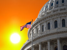 Sunrise Sky over US Capitol. Sunrise over the US Capitol building dome in Washington DC Royalty Free Stock Photos