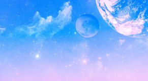Sunrise sky with stars, nebulas and planets background. Sunrise sky with stars, nebulas and planets. Starfield galaxy background. Space concept. Elements of this stock photos