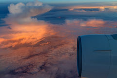 Sunrise skyscape viewed from airplane Royalty Free Stock Photography