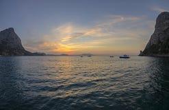Sunrise in a small bay on the Black Sea coast. Stock Photo