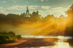 Sunrise in small Russian village Stock Photos