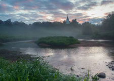 Sunrise in small Russian village Royalty Free Stock Images