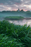 Sunrise in small Russian village Royalty Free Stock Photos