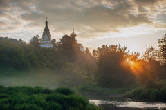 Sunrise in small Russian village Royalty Free Stock Photography