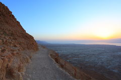 Sunrise from the Snake Path of Masada Stock Image