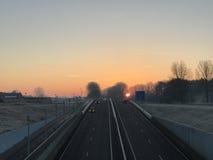 Sunrise in Sneek. Sunrise above the highway in Sneek The Netherlands Royalty Free Stock Image