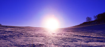 Sunrise in the snowland stock images
