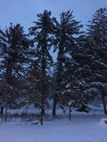 Sunrise after a snowstorm. In small town pennsylvania Royalty Free Stock Image
