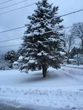 Sunrise after a snowstorm. In small town pennsylvania Royalty Free Stock Photos