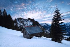 Sunrise in snowy Alps Royalty Free Stock Image
