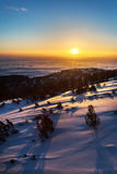 Sunrise in a Snowy Mountain Stock Photos
