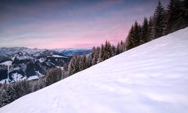 Sunrise in snowy winter Alps Royalty Free Stock Images