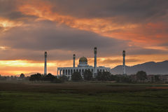Sunrise of Songkhla central mosque Thailand. Beautiful sunrise of Songkhla central mosque Thailand Stock Photography