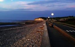 Sunrise south of France. Stone beach Royalty Free Stock Photos