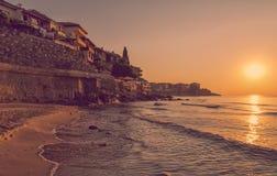 Sunrise in Sozopol, Bulgaria. Vintage toned picture of sunrise in Sozopol, Bulgaria Royalty Free Stock Images