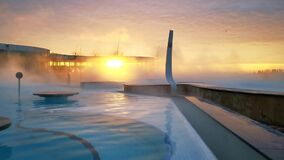 Sunrise at the spa thermal water