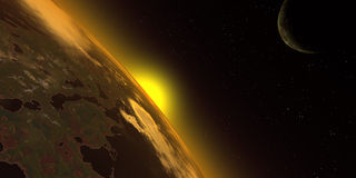 Sunrise in the space. Rising sun stock illustration