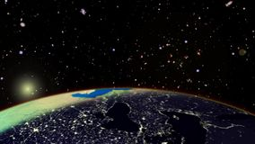 Sunrise from space. Beautiful sunrise over the earth from space.Based upon Imagery from NASA. Extremely realistic and highly detailed with moving clouds,earth stock video