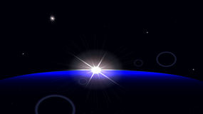 Sunrise in space. Royalty Free Stock Photography