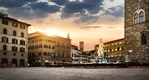 Sunrise at square of Florence Royalty Free Stock Image