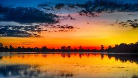 Sunrise of Srah Srang Lake Royalty Free Stock Photo