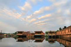 The sunrise in Srinagar City (India). Srinagar is the summer capital of the Indian state of Jammu and Kashmir. It lies in the Kashmir Valley, on the banks of the Royalty Free Stock Images