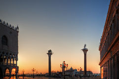 Sunrise at the St. Mark's Square in Venice Royalty Free Stock Photos