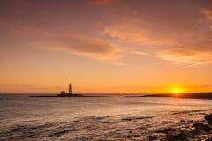 Sunrise at St Mary's Lighthouse Stock Photography