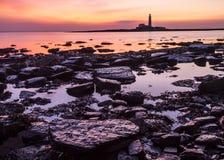 Sunrise over St Marys Lighthouse Royalty Free Stock Photography